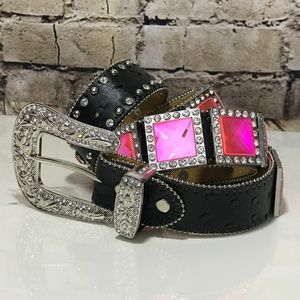 Pink Diamond Western Cowgirl Show Rodeo Bling Belt